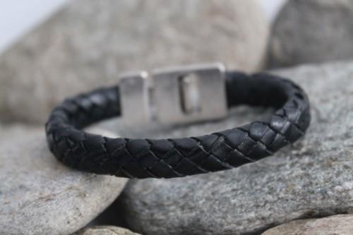 N°16 Lederen Armband Zwart Gevlochten Smal