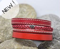 N°21 Lederen Armband Rood met Palmboompje
