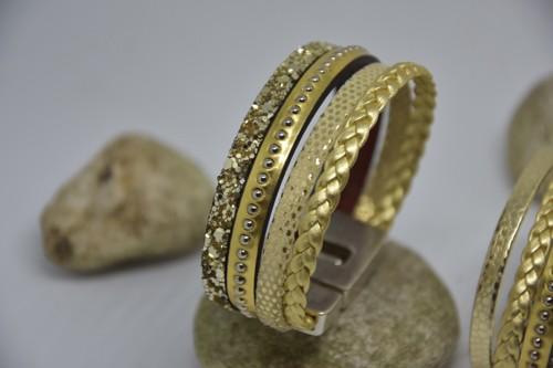 N°7 Lederen Armband Goud Gevlochten
