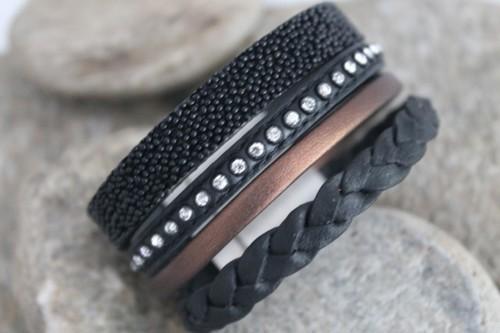 N°15 Lederen Armband Zwart Brons Gevlochten met Swarovski