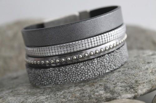 N°20 Lederen Armband Metalic Grijs