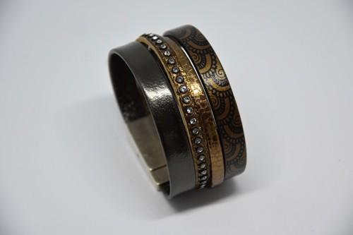 N°17 Lederen Armband Zwart Goud Patroon