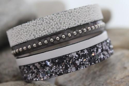 N°23 Lederen Armband Wit Antraciet