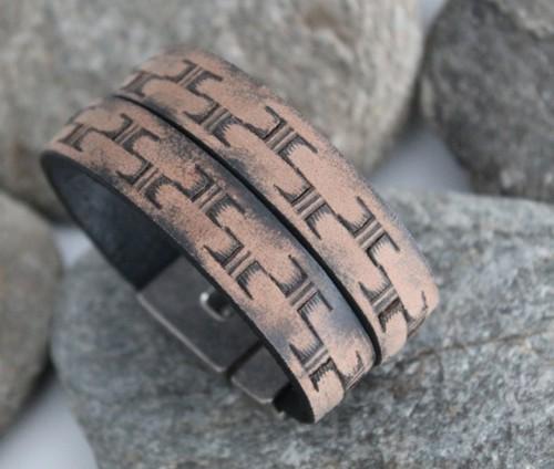 N°15 Lederen Armband Vintage Beige Bruin