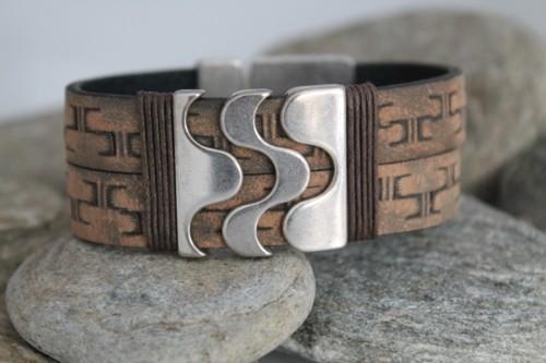 N°20 Lederen Armband Vintage met Slider