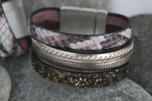 N°22 Lederen Armband Rosé Brons met Slangenmotief