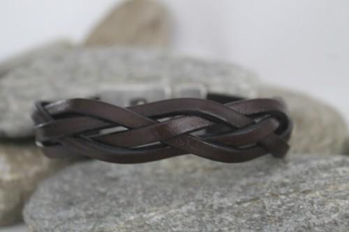 N°7 Lederen Armband Donker Bruin Gevlochten