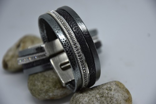 N°5 Lederen Armband Antraciet Grijs