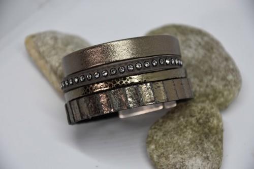 N°3 Lederen Armband Vintage Kakigroen met Swarovski