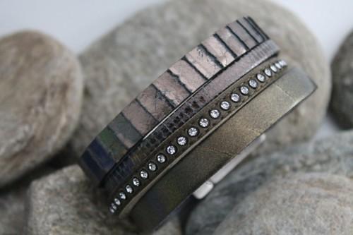 N°10 Lederen Armband Kakigroen met Swarovski