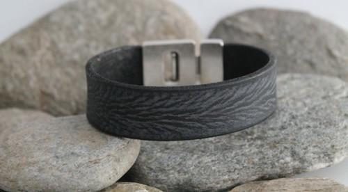 N°23 Lederen Armband Vintage Zwart