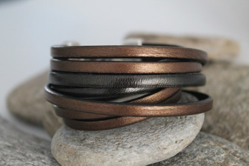 N°2 Wikkel Armband Brons Zwart