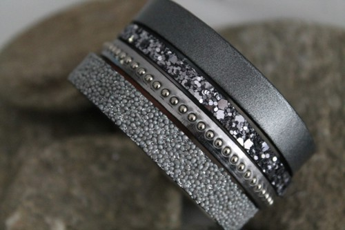 N°14 Lederen Armband Zilver Grijs