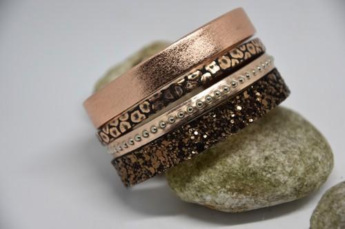 N°12 Lederen Armband Rosé Brons