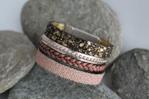 N°4 Lederen Armband Brons Rosé