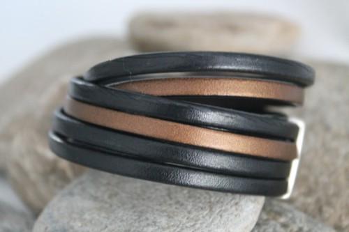 N°7 Wikkel Armband Zwart Brons