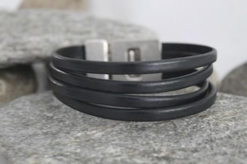 N°25 Lederen Armband Zwart 4 Banden
