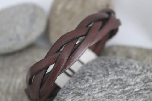 N°3 Lederen Armband Bruin Gevlochten