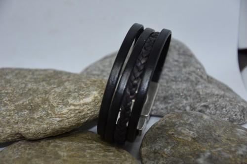 N°26 Lederen Armband Zwart Fijn met Vlecht