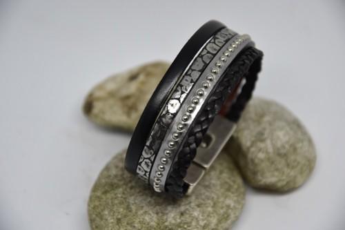 N°18 Lederen Armband Zwart Antraciet