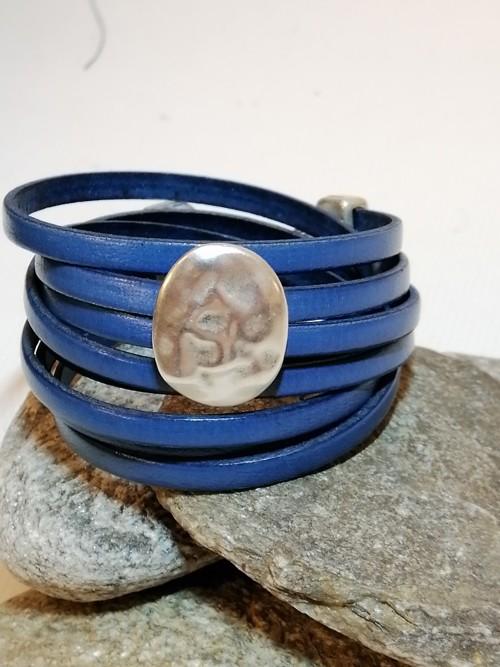 N°6 Wikkel Armband Blauw