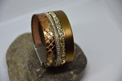 N°8 Lederen Armband Goud Slangenprint