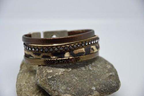 N°13 Lederen Armband Panterprint met Swarovski