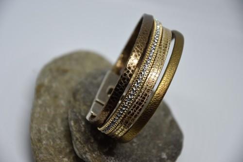N°8 Lederen Armband Goudgeel