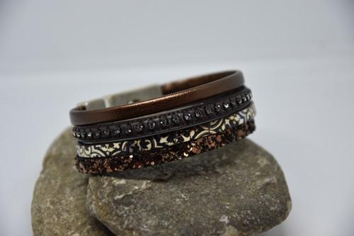 N°1 Lederen Armband Brons met Print en Swarovski