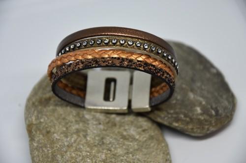 N°11 Lederen Armband Koper Brons met Swarovski