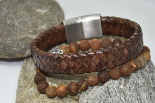 N°12 Lederen Armband Bruin Gevlochten