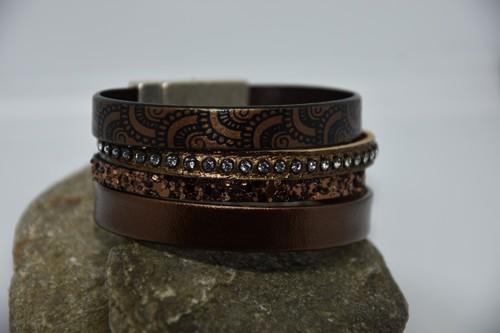 N°6 Lederen Armband Chocoladebruin met Motief en Swarovski