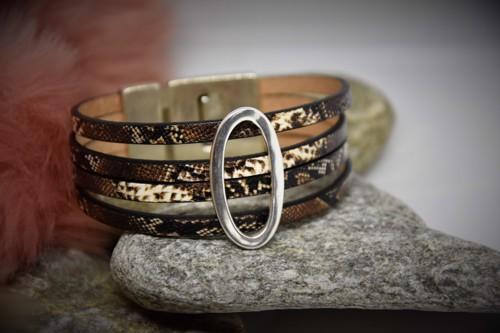 N°12 Lederen Armband Slangmotief