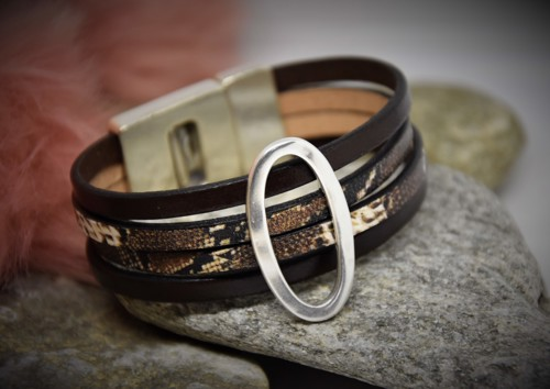 Lederen Armband Slangmotief Donker Bruin